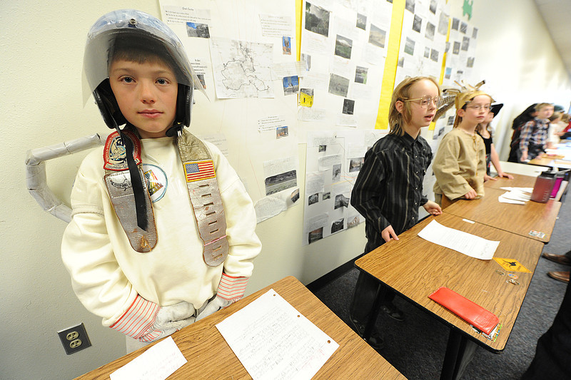 Walt Hester | Trail Gazette<br /> Aidyn Scott portrays astronaut Jeffery Ashby at the fourth-grade Wax Museum at the elementary school on Tuesday. Students researched famous Coloradoans, then presented their finding while dressed as the people they studied.