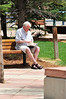 Walt Hester | Trail Gazette<br /> Gary Burns of Lincoln, Nebraska, enjoys a good read in Riverside Plaza on Wednesday. We should have 70s on Friday, cool and wet on Saturday, then warm and sunny again on Sunday.