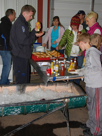 Attendees to the May 19 safety fair and expo in Barn W at the Stanley Fairgrounds were treated to a lunch of freshly barbecued hamburgers and hotdogs.