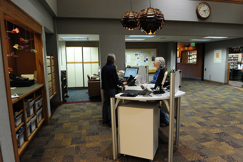 Walt Hester | Trail Gazette<br /> A new desk sits in a smaller space at the library on Monday. The library will build a second desk on the opposite side of the lobby.