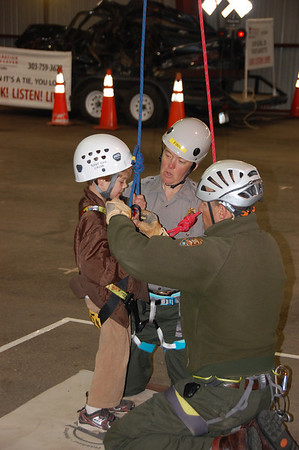 Young attendees to the annual Estes Park safety fair enjoyed the search and rescue exhibit in Barn W at the Stanley Park Fairgrounds.