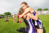 Walt Hester | Trail Gazette<br /> Relay runner Erin Barker hugs team mate Sara Speedlin after their last race together at the Colorado State Track and Field meet on Saturday. The 4x400 relay placed ninth in the final.