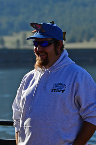 Walt Hester | Trail Gazette Denali Lawson enjoys a bit of humor with his fish hat befor ethe start of the fishing derby on Saturday. The marina staff was busy helping competitors get signed up as well as get boats for the derby.
