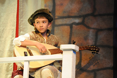 """Walt Hester   Trail Gazette Gio Dumont practices on the lute for intermission of the Soggy Noodle performance of """"To Do or Not To Do; Shakespeare Gone Astray"""". The Children's Theatre will perform their production Friday and Saturday at the Estes Park High School Theater."""