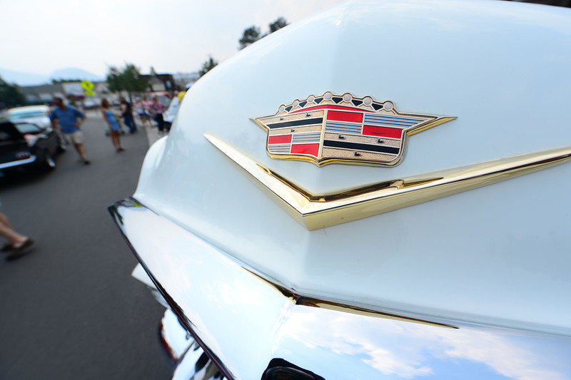 Walt Hester | Trail-Gazette<br /> The hood ornament of a classic Cadillac shines at the Coolest Car Show in Bod Park on Wednesday. The display of classic cars and trucks is a much-anticipated Independence Day event.