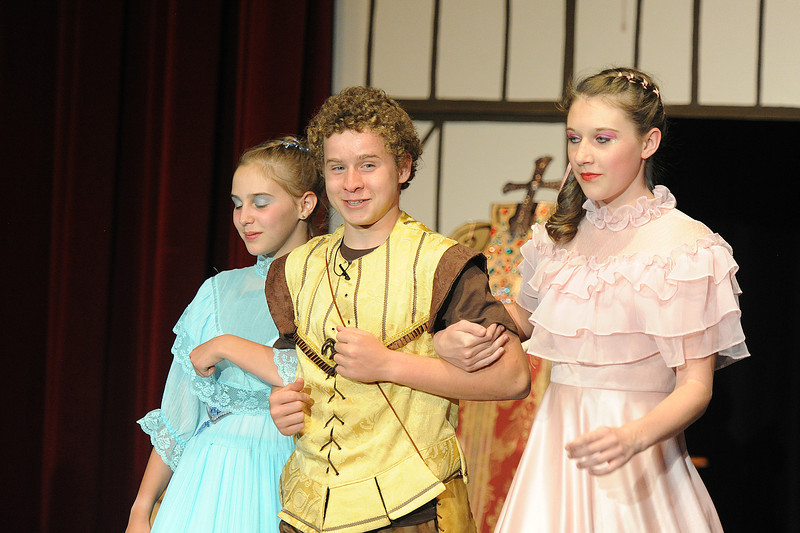 Walt Hester | Trail Gazette<br /> Peter Herman escorts Tori Armitage, left and Kassidy Glassman on stage in the shortened Midsummer Nights Dream. With so many plays, each Noodle has multiple roles in the production of To Do or Not To Do; Shakespeare Gone Astray.