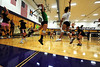 Walt Hester   Trail Gazette<br /> Ladycats volleyball players work on timing during the Wednesday aftrenoon session at the high school. The U of Wyo coaches and players gave the Estes Park girls plenty to work on.