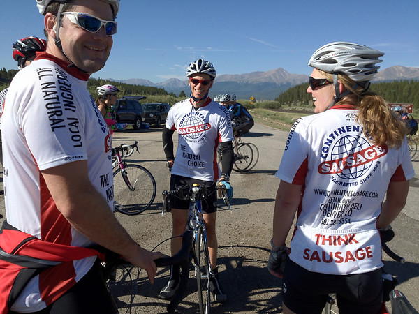 Walt Hester | Trail Gazette<br /> The Continental Sausage cycling team show off their jerseys near Turquois Lake on Saturday. Each team expresses their individuality on thei jerseys.
