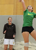 Walt Hester | Trail Gazette<br /> University of Wyoming head volleyball coach Carrie Yerty chears on sophomore Maya Michener during drills on Wednesday. The coach brought players, an assistant and a quiver of new drills for the team.