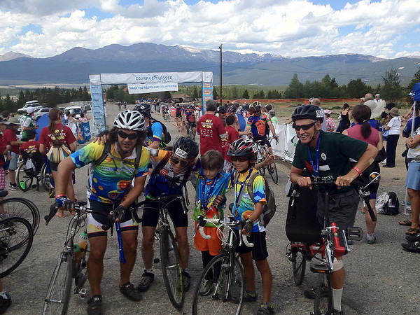 Walt Hester | Trail Gazette<br /> Riders pose at the finish line in Leadville after the third day of the Courage Classic on Monday. The ride covers more than 157 miles in three days and raises funds for the Children's Hospital Colorado.
