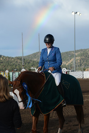 Walt Hester | Trail-Gazette<br /> Allison Kroff of Mesa Ariz. is all smiles after winning the Hunter-Jumper festival's Grand Prix event on Saturday. The win, the sixth for her and her horse, Little Miss Sunshine, earned the pair $25,000.
