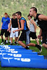 Walt Hester | Trail-Gazette<br /> Adam Christianson and Frankie KellerTwigg practice their footwork at Monday's football mini-camp on Monday. The voluntary training camp had nearly 20 participants.