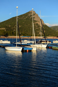 Walt Hester | Trail-Gazette Evening light reflects off of masts and water at the Lake Estes Marina last week. The marina is open well into autumn.