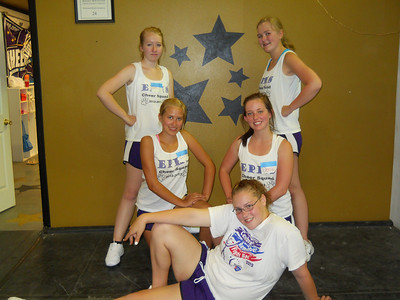Courtesy Peggy Mauerman Belle Treadway (Freshman), Jackie Mauerman (Junior), Esther Poysti (Sophomore), Sena Krula (Junior) and Emily Mulhern (Junior) at the Loveland cheer camp. Six others Varsity Cheerleaders where unable to attend camp due to prior committments.