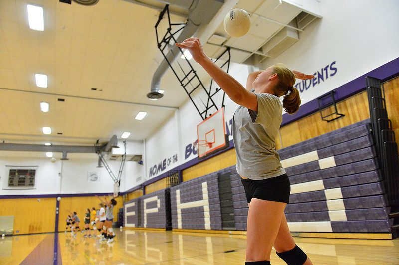 Walt Hester | Trail-Gazette<br /> Junior Ali Scheil works her serve during practice on Wednesday. Sheil is one of a strong group of juniors ready to push the team forward this season.