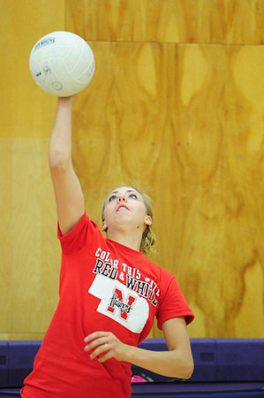 Walt Hester | Trail-Gazette<br /> Senior Amanda Dill pounds a serve during Wednesday's afternoon practice. Dill will have the responsibility of team leader as the fall season begins.