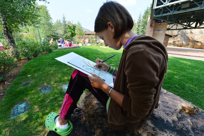 Walt Hester | Trail-Gazette<br /> Nadia Herman, 12, of Estes Park focuses on her work during the children's paint out at Performance Park on Thursday. The event was just one of many scheduled for the next 10 days for the Cultural Arts Council's Plein Air painters' festival in Estes Park.