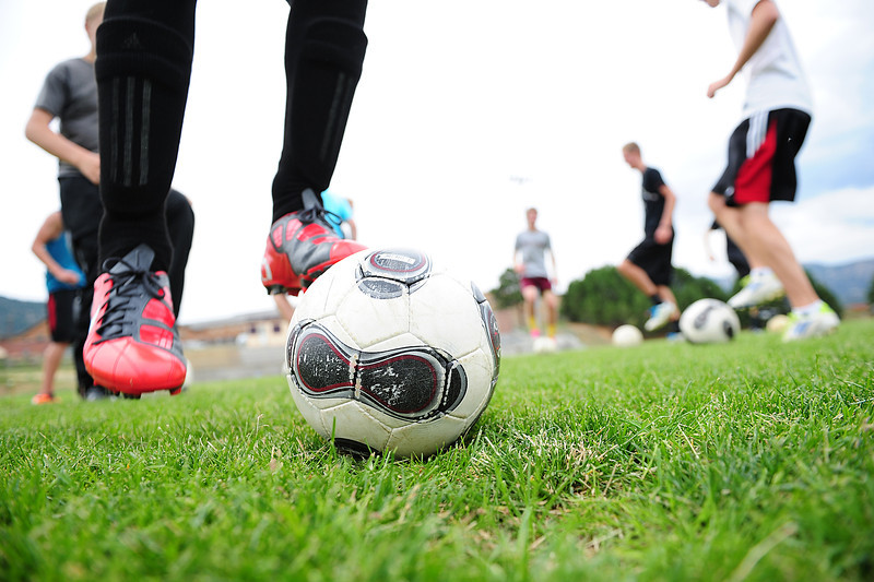 Walt Hester | Trail-Gazette<br /> A soccer player taps a ball and switches feet during the teams first regular practice. The sport requires not only fitnes, but coordination for success.