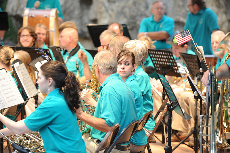 Walt Hester | Trail-Gazette<br /> A Village Band musician sneeks a peek at the fans before the July 4 concert.