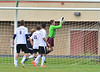 Walt Hester | Trail-Gazette<br /> Bobcat keeper Josh Hays makes one of many saves against Jefferson Academy on Tuesday. Hays was called on several times as the talented Jaguars got shots off.