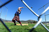 Walt Hester | Trail-Gazette<br /> A Highland athlete swings a heavy ball on the end of a pole, a Highland hammer, before launching it during competition on Saturday. Weight toss for height and distance, shief toss and caber toss are also events in the Highland athletic competion.