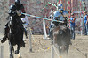 Walt Hester | Trail-Gazette<br /> Heavy armor jousters collide during Sunday's session at the Stanley Fairgrounds arena. Knights receive points based on the accuricy of their hits.