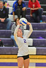 Walt Hester | Trail-Gazette<br /> Shelby Kufeld sets during the fifth set of the Ladycats match against Frontier Academy on Tuesday. Kufeld had plenty of work as the Estes Park hitters had plenty of success against the Wolverines.