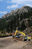 Walt Hester | Trail-Gazette<br /> Construction continues at Lily Lake on Wednesday. Crews are rebuilding the dam at the popular national park lake.