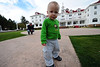 Walt Hester | Trail-Gazette<br /> Wayett Harrington, 2, of Fort Collins runs around on the lawn in front of the Stanley Hotel on Wednesday. The toddler and his grandfather, Jeremy Richards, came to enjoy the cool autumn day in Estes Park.