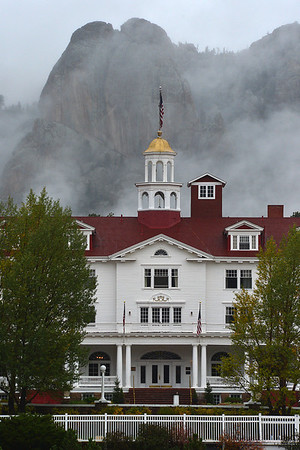 Walt Hester | Trail-Gazette<br /> Clouds obscure Lumpy Ridge behind the Stanley Hotel on Wednesday. Unsettled autumnal weather has drifted into Estes Park, as though on cue for the first week of fall.