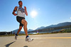 Walt Hester | Trail-Gazette<br /> Brandon Close of Estes Park builds a big lead early during Saturday's Running of the Bulls. Close had the lead from start to finish, posting a time of 21:48.