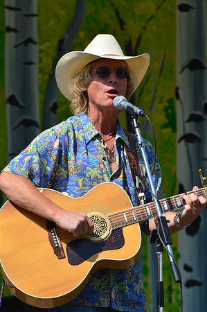 Walt Hester | Trail-Gazette<br /> Local favorite Cowboy Brad Fitch entertains the visitors to the annual Aspen Gold in Bond Park. Bands included Wendy Woo as well as Cowboy Brad.