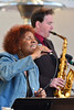 Myra Warren belts out songs while Max Wagner plays his sax on Sunday. The 23-year-old, two-day festival featured seven acts.