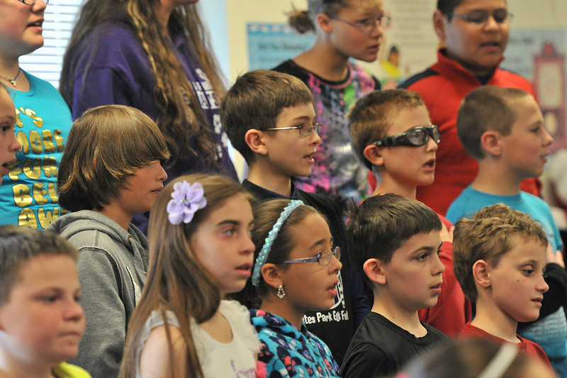 Estes Park fifth-graders rehearse on Tuesday for their Thursday musical performance. Thursday's program begins at 7 p.m.