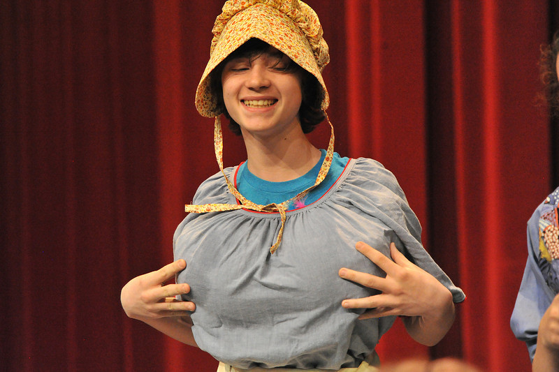Danny Menger adjusts his costume during rehearsal of the Estes Park Middle School's production of Romeo to Go. Many of the secondary characters threaten to steal the show in the youthful retelling of Shakespeare's Romeo and Juliette.