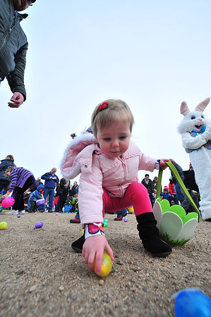 Lainie Hodges scoops up an egg at the Quota Club's Breakfast with the Easter Bunny event at the old elementary school on Saturday. In addition to the egg hunt, children and parents were invited to enjoy breakfast, provided by the Estes Park Lions Club, stories, face painting, crafts and photo with the Easter Bunny.