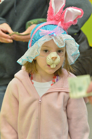 Enola Ramey, 5, sports her own bunny face at the Breakfast with the Eatser Bunny event on Saturday, sponsored by the Estes Park Quota Club. The event helped folks prepare for the coming holiday.
