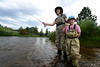 03EPNews Mother Daughter Team.jpg Walt Hester | Trail-Gazette<br /> Carrie Tholstrup and daughter, Clare, 5, of Bison, Kans. fly fish in the Big Thompson River below the Olympus Dam on Wednesday. The afternoon rain doesn't discourage the diehard anglers, no matter the age.