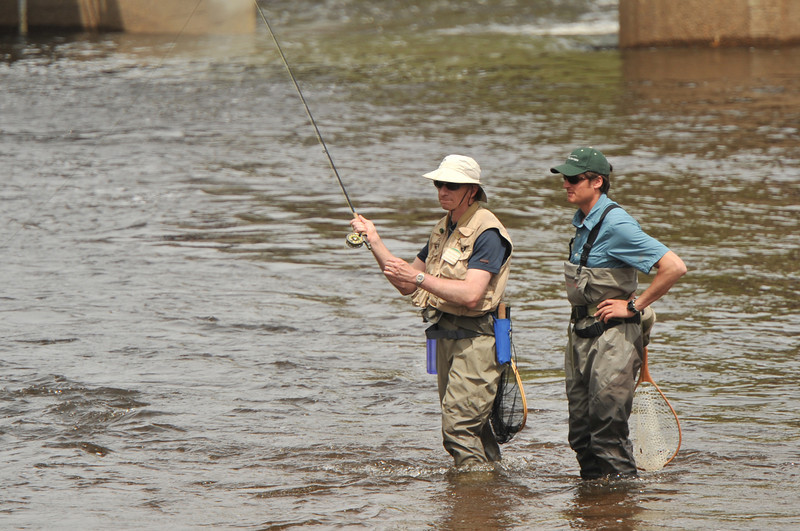 31EPSEar Fishing.jpg A fly fisherman and guide fish the Big Thompson River on Saturday. With the weather warming and flies hatching, more fisherman are likelt to make the trip up to Estes Park.