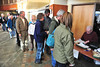 Health-conscious Estes Park residents line up for the spring health fair at the Estes Park Medical Center on Saturday. The event tends to attract a large crowd, even early in the morning.
