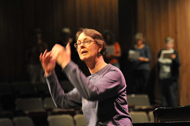 Kathryn Bowers directs the voices of the Oratorio Society Chorus during rehearsal on Wednesday night. The Oratorio Society of Estes Park celebrates their 25th anniversary with a concert on Friday, May 17, and Saturday, May 18, at the Estes Park High School auditorium.