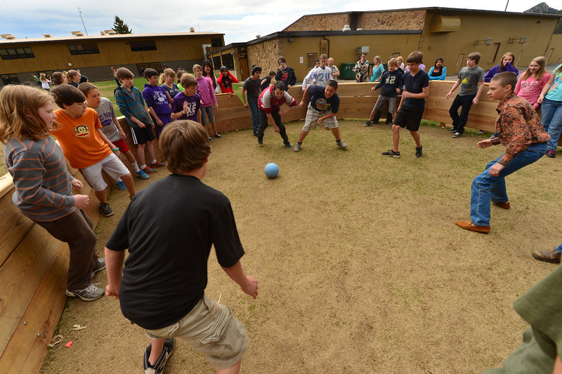 Middle school students play Israeli dodgeball, or Gaga, on Wednesday in a Gaga pit created by students at the school. Students became interested in the game after playing at a camp, then were encouraged to put the Gaga pit together themselves.