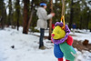 An Estes Park fifth-grade student serches, while blindfolded, for a plush animal hanging from a tree at the annual Estes Park Elementary School fifth-grade overnight on Friday. The annual event gets the students out in the forest near the base of Longs Peak and gives them activities that challenge them, build confidence and trust.
