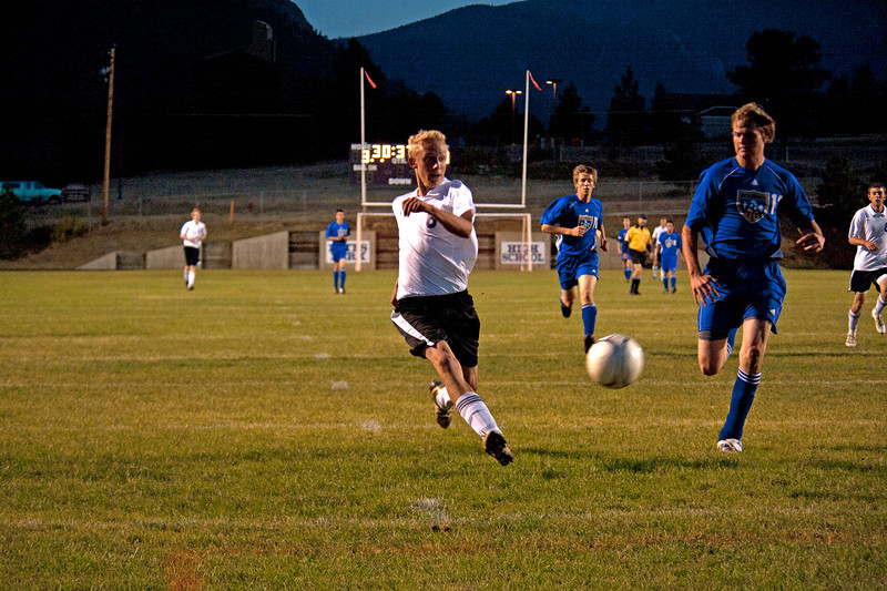 Photo by Walt Hester<br /> Estes Park's Andrew Cirone shoots and score during the soccer teams rout of Campion Academy on Tuesday. The Bobcats scored eight goals with six different players.