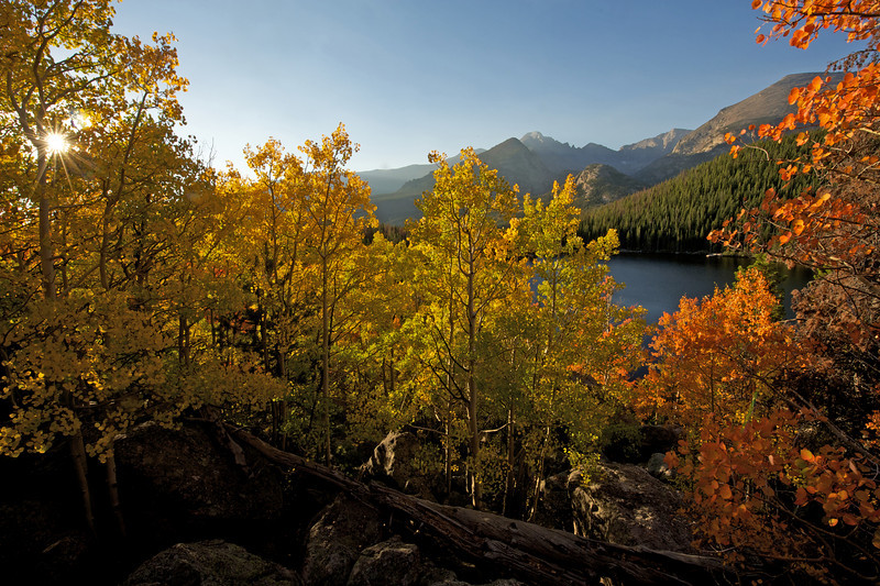 Photo by Walt Hester<br /> Sunshine bursts through gold and orange aspens on Tuesday. Weather of the past spring and summer have caused a brilliant display of fall color in the national park.