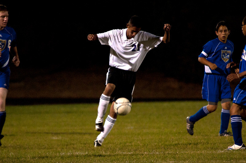 Photo by Walt Hester<br /> Jorges Morales scores his first goal of the season against Campion Academy on Tuesday. Three Bobcats scored their first goals of the season on Tuesday.