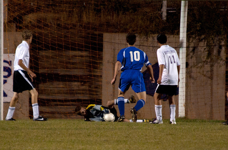 Photo by Walt Hester<br /> Goalkeeper Josh Hays makes a diving save against Campion Academy on Tuesday evening. Hays shutout against Campion Academy was the third of the season.