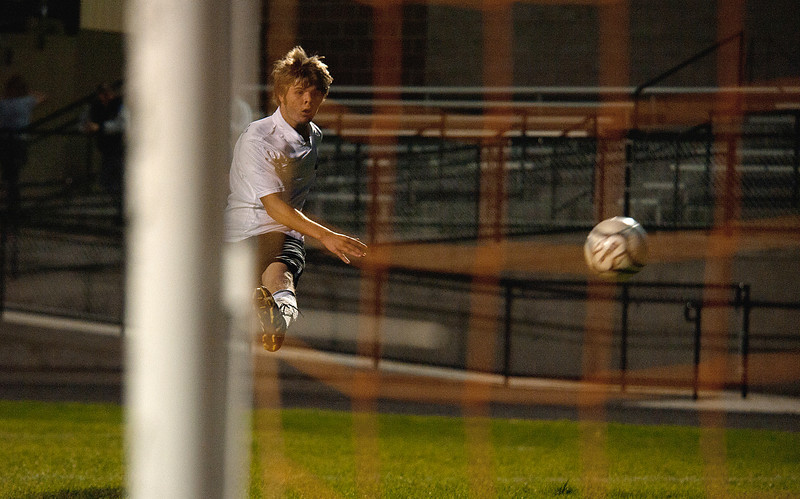 Photo by Walt Hester<br /> Defensive leader Joey Sisk scores his first goal against Campion Academy on Tuesdat evening. The Bobcats scored six goals in the second half of Tuesday's game.