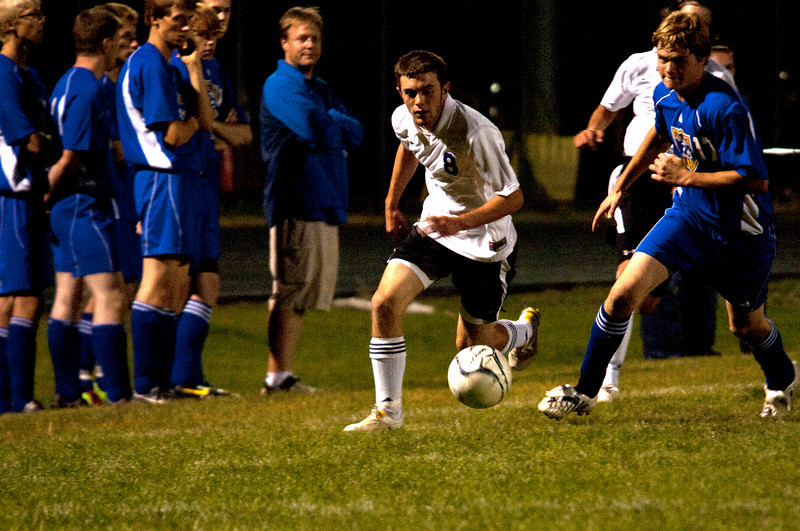 Photo by Walt Hester<br /> Dustin Hays pushes the ball upfield against Campion Academy on Tuesday night. Hays and the Bobcats' defense has shutout three teams so far this season.
