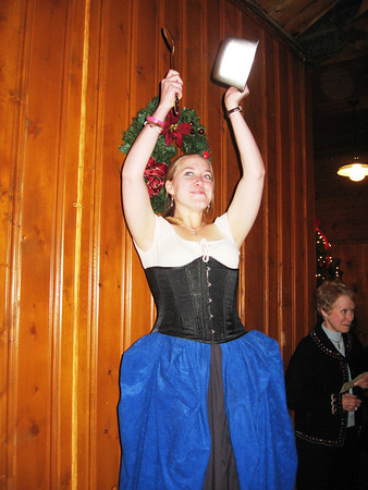 Calling all feasters into the hall at last year's Olde English Christmas Feast, held at the YMCA, was the mistress of ceremonies. This year's Feast will be held at The Stanley and promises to be just as bang-up.